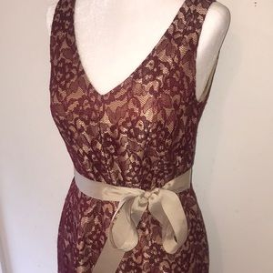 NWT The Limited Burgundy & Gold Lace Dress - Sz 4